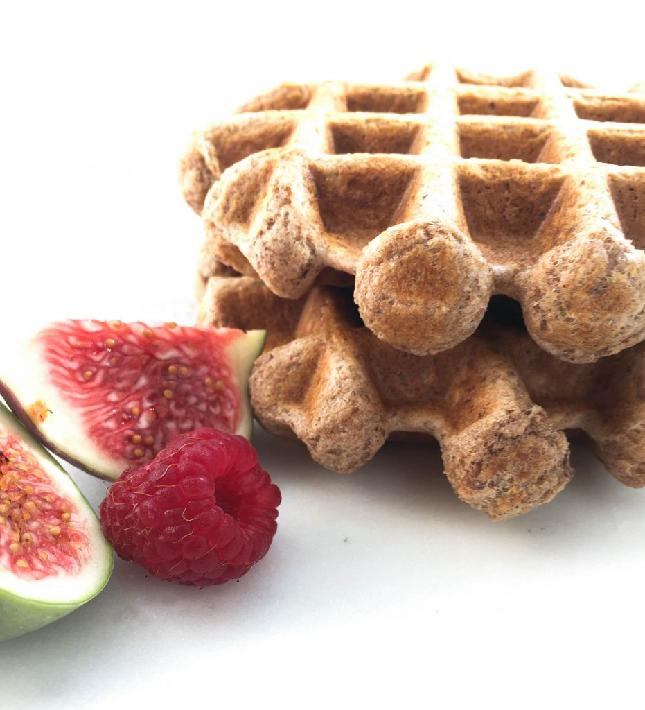 waffles on a plate with fruits