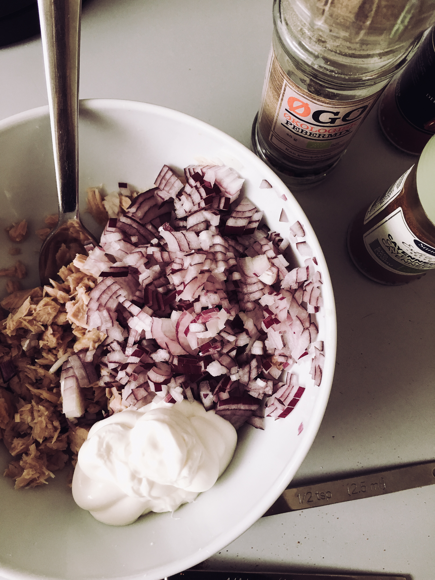 red onion and mayo