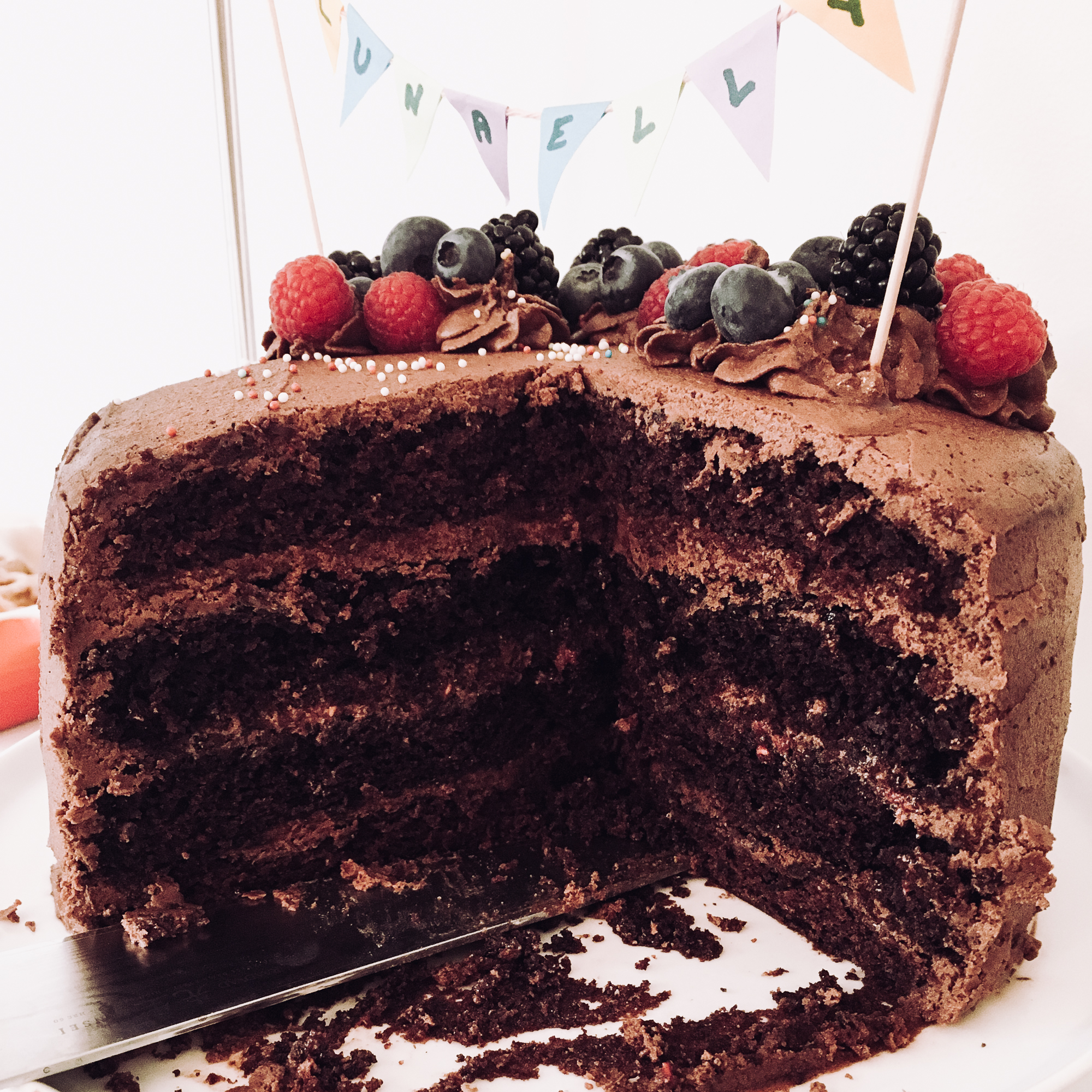 sliced vegan chocolate cake